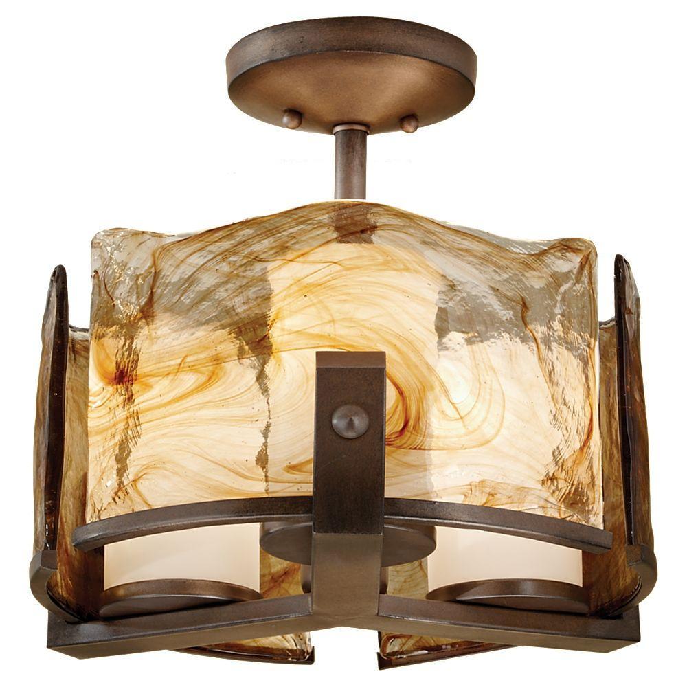 Aris 3-Light Roman Bronze Semi-Flush Mount Light