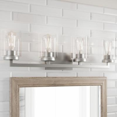 Westlyn 4-Light Brushed Nickel Vanity Light with Clear Optic Glass Shades