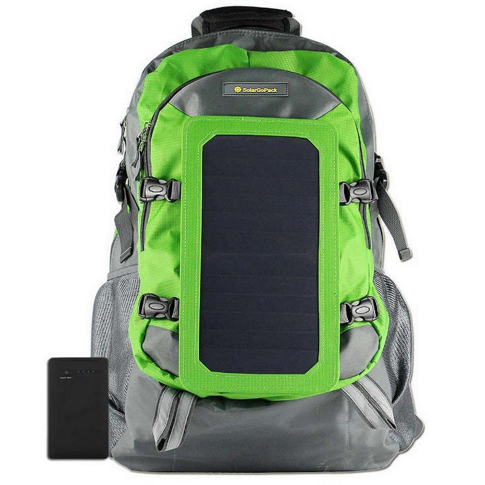 Solar Backpack, 10k mAh battery, 7-Watt Solar Panel in Green