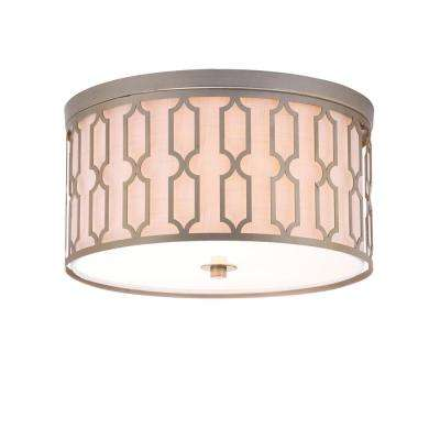 Link 3-Light Soft Gold 16.75 in. Metal Flush Mount