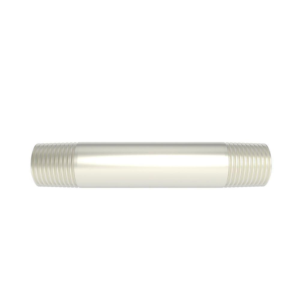 Brasstech 1/2 in. x 4 in. Brass Nipple in Satin Nickel