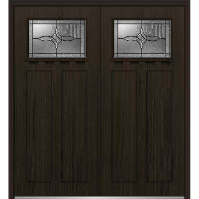 72 in. x 80 in. Lenora Right-Hand Inswing 1/4-Lite Decorative Stained Fiberglass Fir Prehung Front Door with Shelf