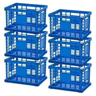 Multi-Purpose Letter and Legal Size File Crate in Blue (6-Pack)