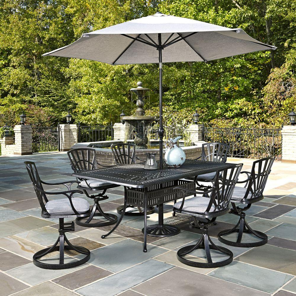 Home Styles Largo 7 Piece Outdoor Patio Dining Set With Umbrella And Gray  Cushions