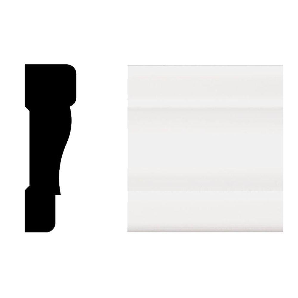 Veranda 2355 11/16 in. x 2-1/4 in. x 8 ft. Primed White PVC Colonial Casing Moulding