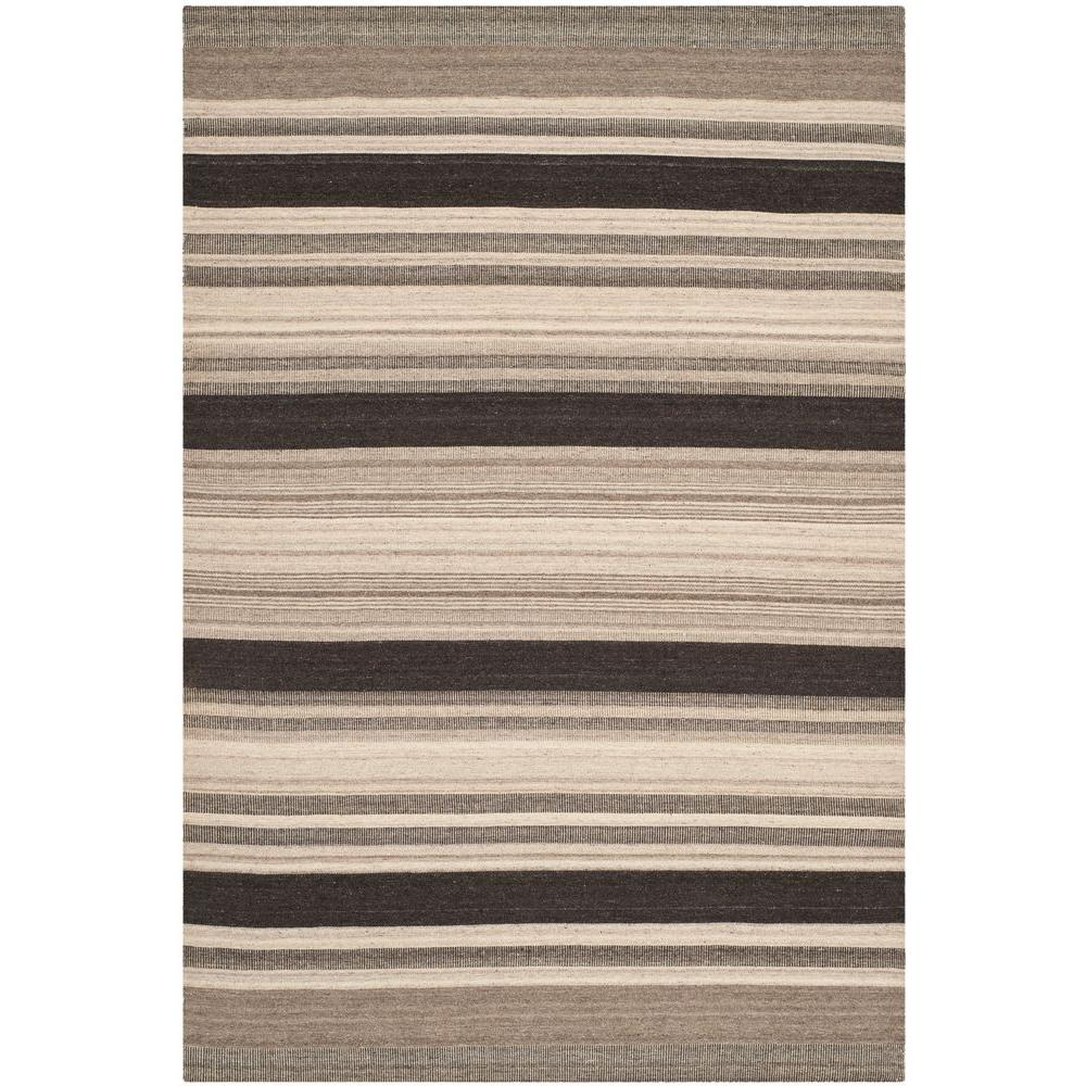 Dhurries Natural/Black 5 ft. x 8 ft. Area Rug