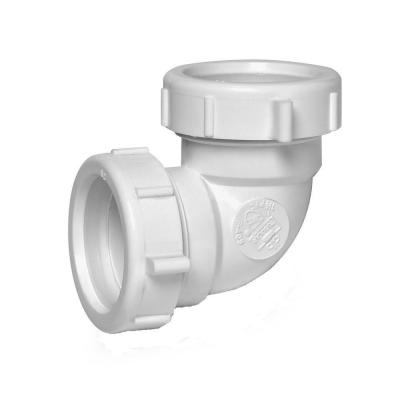 1-1/2 in. 90-Degree White Plastic Double Slip-Joint Sink Drain Elbow Pipe