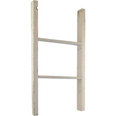 19 in. x 48 in. x 3 1/2 in. Barnwood Decor Collection Chalk Dust White Vintage Farmhouse 3-Rung Ladder