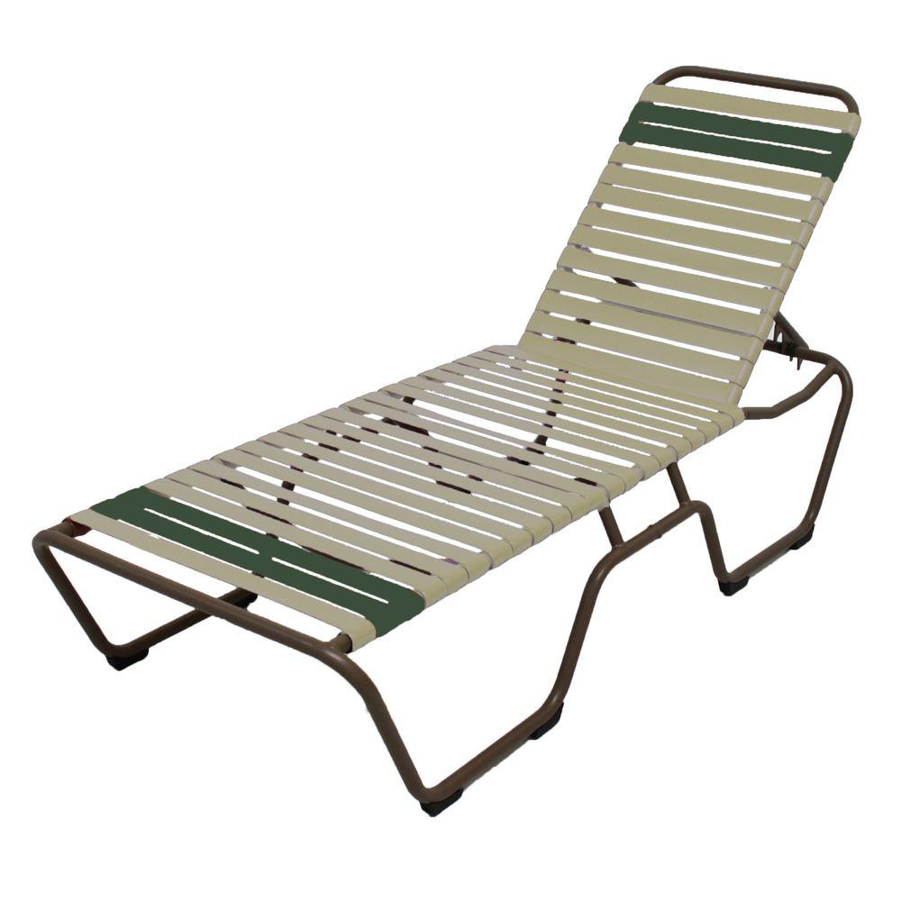 Marco Island Brownstone Commercial Grade Aluminum Patio Chaise Lounge with Putty