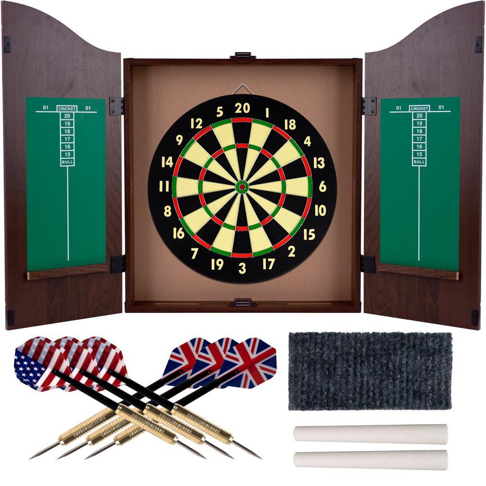 Trademark Games Dart Board Cabinet Set In Walnut 15 Dg910 The