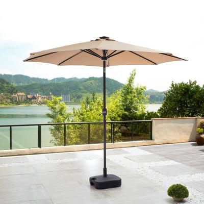 8.8 ft. Steel Tilt Market Solar-Powered Light-UP Umbrella With Base in Khaki