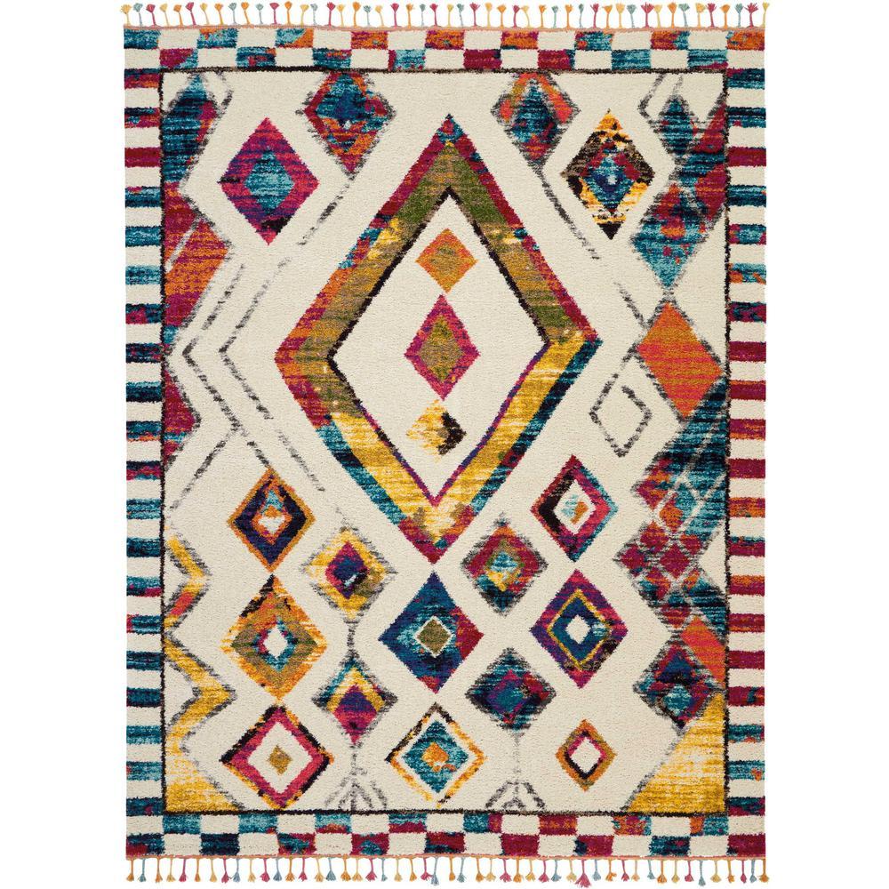 Nourison Moroccan Casbah 9' X 12' White Multicolor