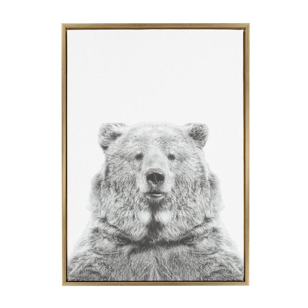 "33 in. x 23 in. ""Bear European"" by Tai Prints Framed Canvas Wall Art"