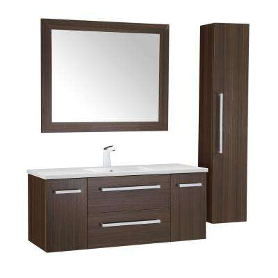 Conques 48 in. W x 20 in. H Bath Vanity in Rich Brown with Ceramic Vanity Top in White with White Basin and Mirror