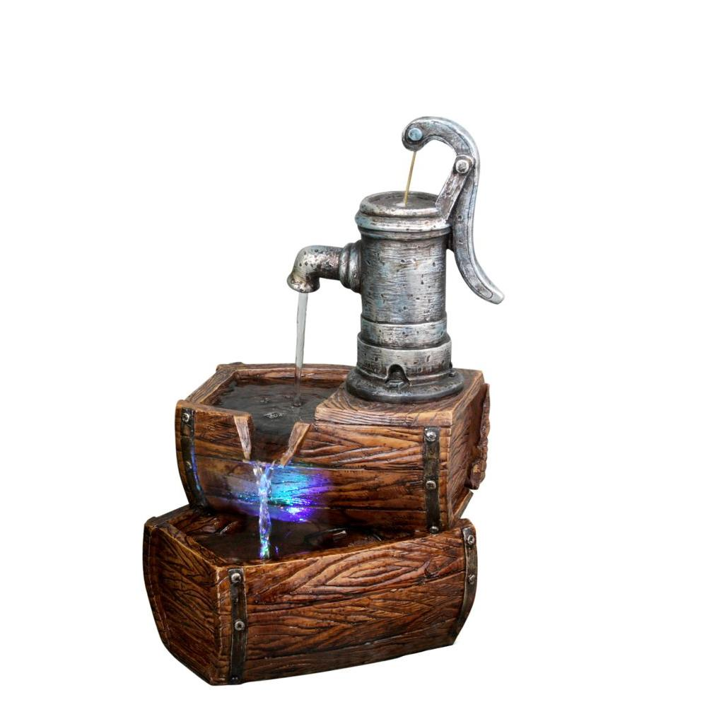 Alpine 2-Tier Barrel Fountain with LED Lights, Dark Brown...
