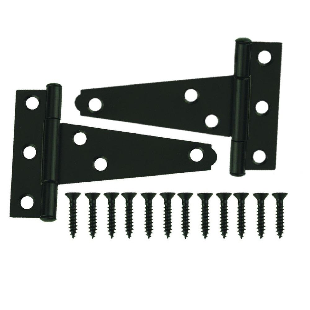 3 in. x 3 in. Black Tee Surface Mount Hinge (2-Pack)