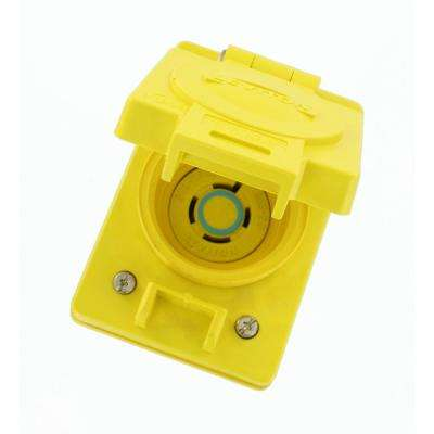 20 Amp 250-Volt 3-Phase Wetguard Locking Flush Mounting Single Outlet with Flip Lid, Yellow