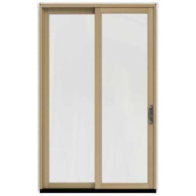 59.25 in. x 95.5 in. W-2500 Brilliant White Prehung Left-Hand Sliding 1-Lite Pine Patio Door with Unfinished Interior