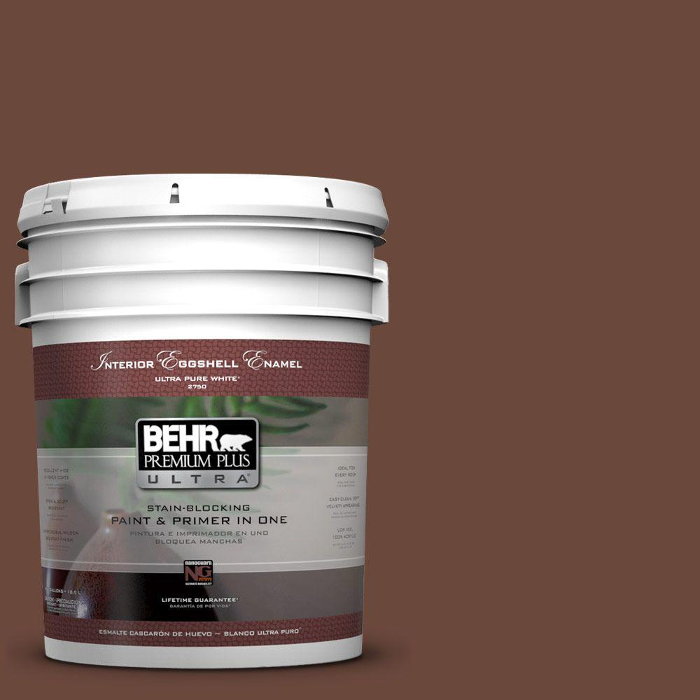 BEHR Premium Plus Ultra 5-gal. #BXC-45 Classic Brown Eggshell Enamel Interior Paint