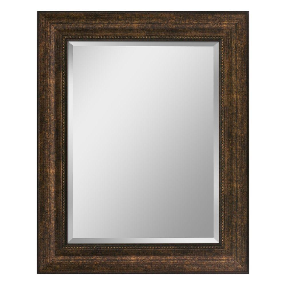 Head West 25 in. x 31 in. Framed Vanity Mirror in Copper and Bronze