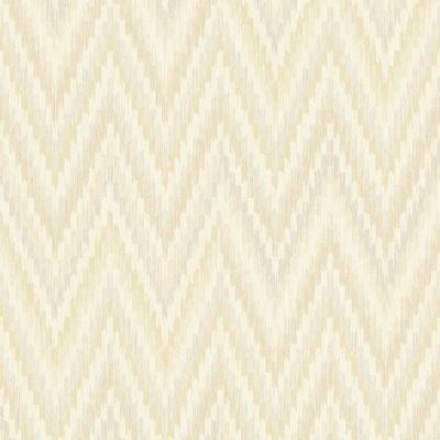 Metallic Static Zigzag Abstract Taupe and White Wallpaper