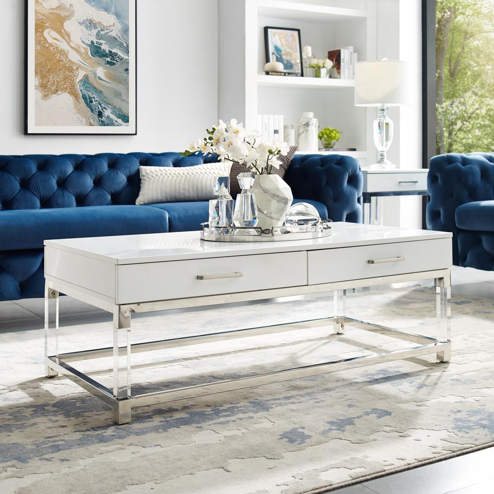 Caspian White/Chrome Coffee Table with High Gloss