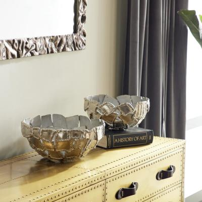 Contemporary Decorative Silver Metal Bowls with Textured Rectangular Pattern (Set of 2)