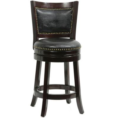 Bristol 24 in. Cappuccino Swivel Cushioned Bar Stool