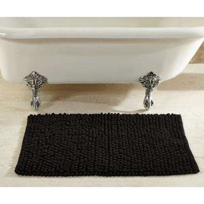 Chenille Rocks Black 24 in. x 36 in. Bath Rug