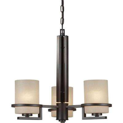3-Light Antique Bronze Chandelier with Umber Linen Glass