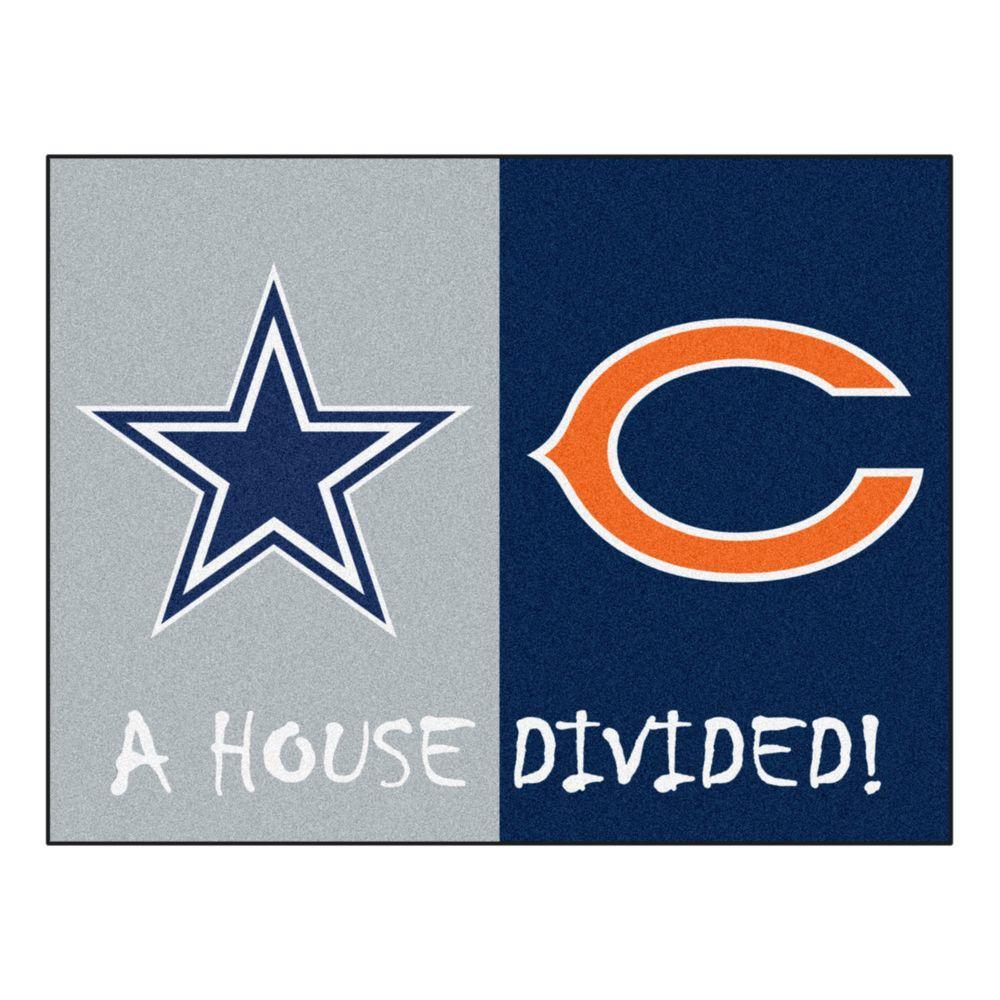 NFL Cowboys / Bears Gray House Divided 3 ft. x 4 ft. Area Rug