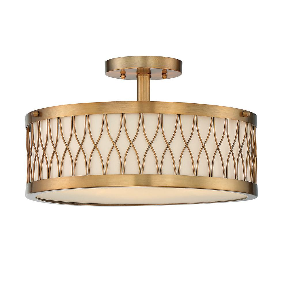 Home Decorators Collection Anya 15 In 3 Light Chrome Semi Flushmount With Pleated Cream Fabric: home decorators collection 4 light chrome flush mount
