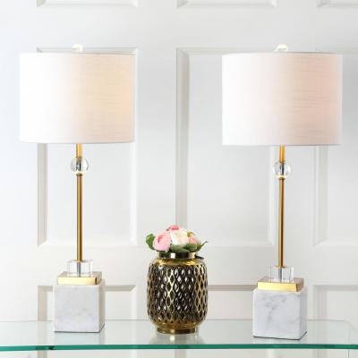 Dawson 30 in. Marble/Crystal Table Lamp, Brass (Set of 2)