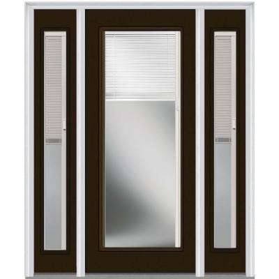 60 in. x 80 in. Internal Blinds Right-Hand Full Lite Clear Painted Fiberglass Smooth Prehung Front Door with Sidelites