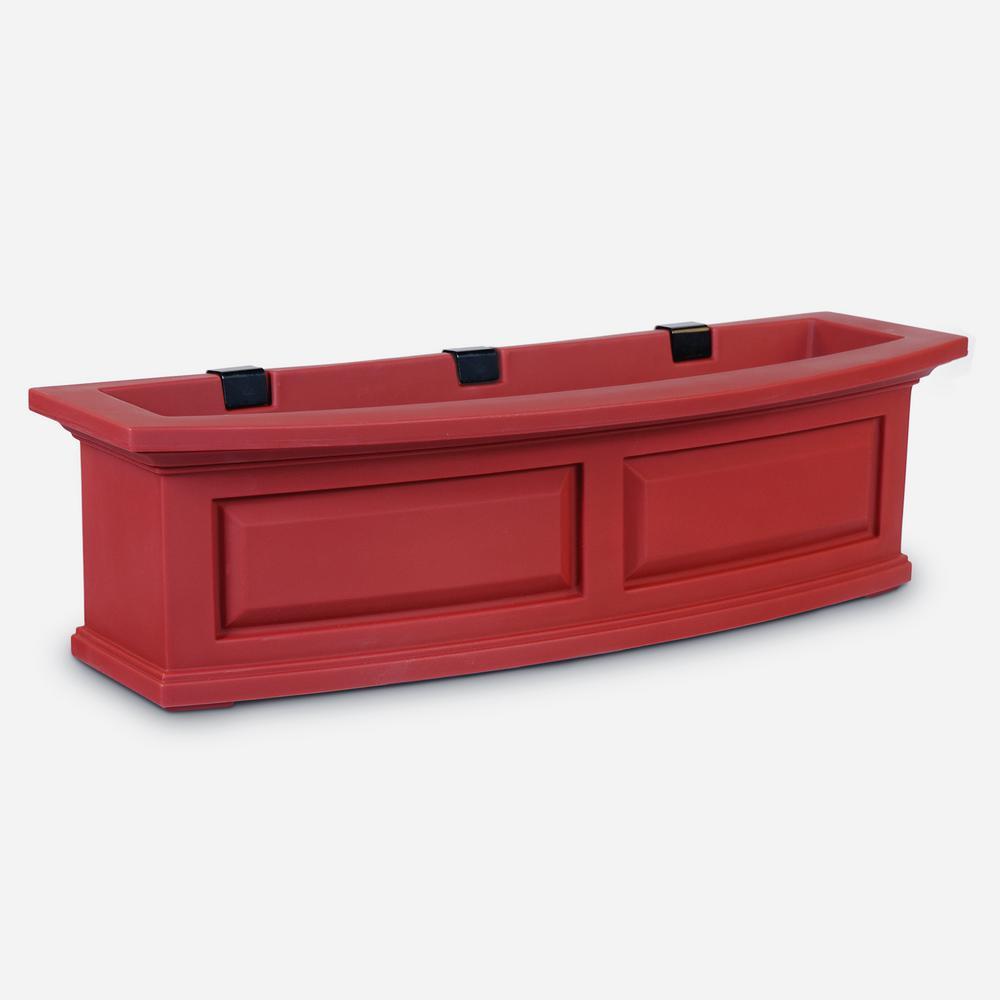 Self-Watering Nantucket 10 in. x 36 in. Red Polyethylene Window Box