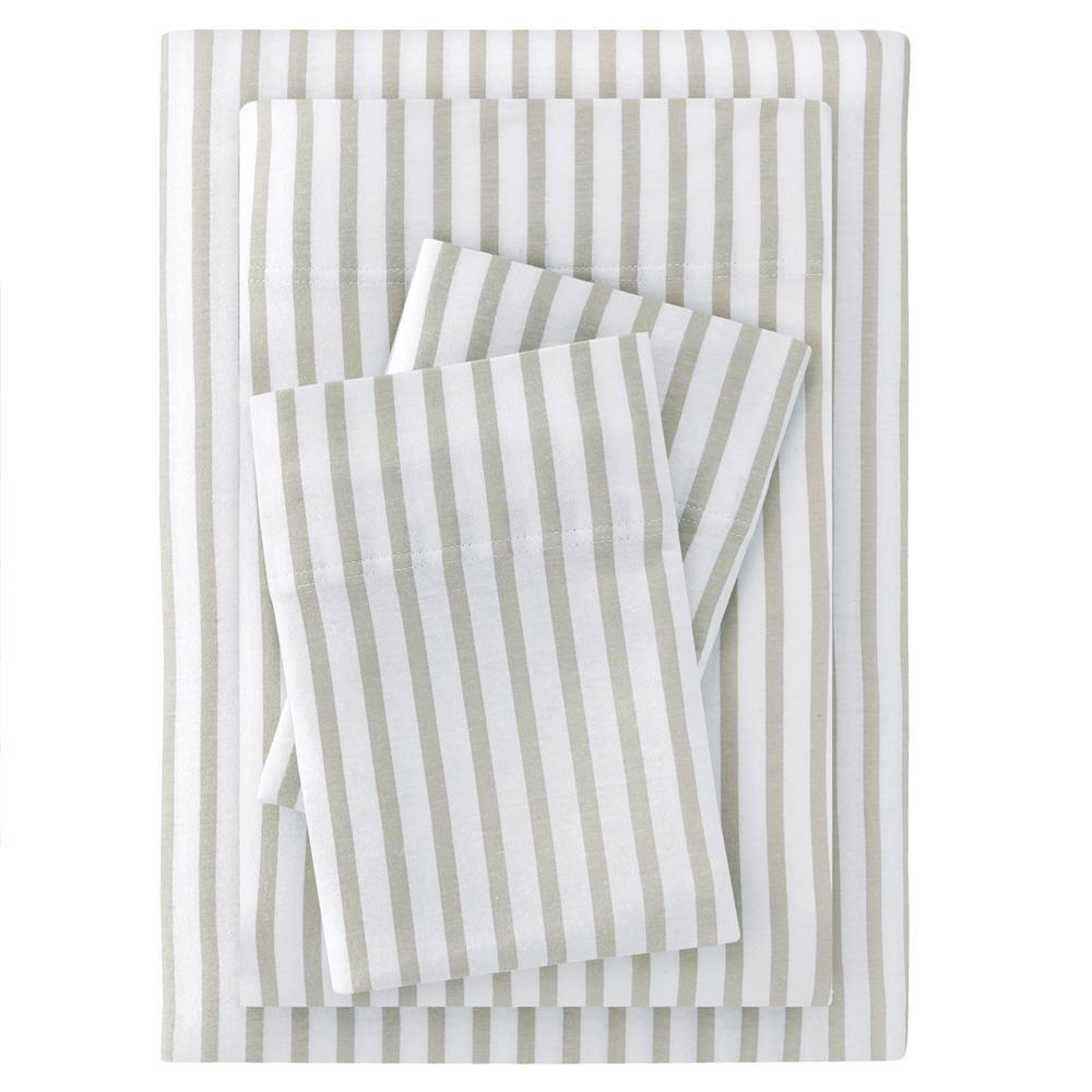 Jersey Knit Cotton Blend Queen Sheet Set in Biscuit Stripe
