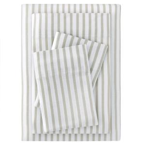 Jersey Knit Cotton Blend King Sheet Set in Biscuit Stripe