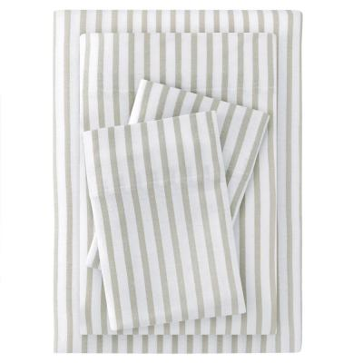 Jersey Knit Cotton Blend Queen Sheet Set in Biscuit Stripe
