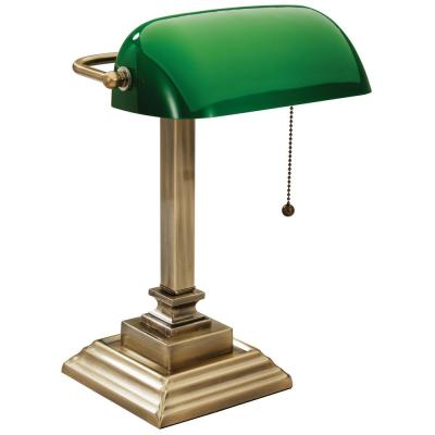 15 in. Brass Indoor Bankers Lamp with USB Port