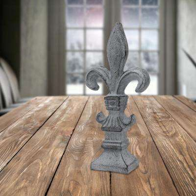3 in. x 7.5 in. Weathered Smoke Cast Iron Fluer-De-Lis Pedestal