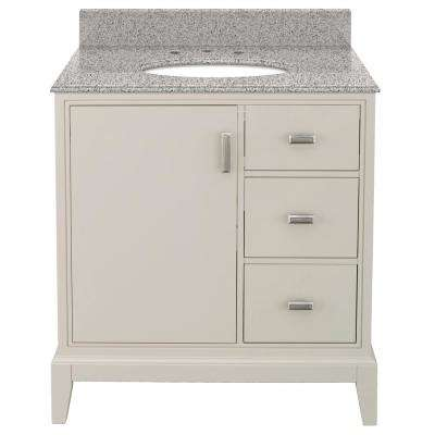 Shaelyn 31 in. W x 22 in. D Bath Vanity in Rainy Day RH Drawers with Granite Vanity Top in Napoli with White Basin
