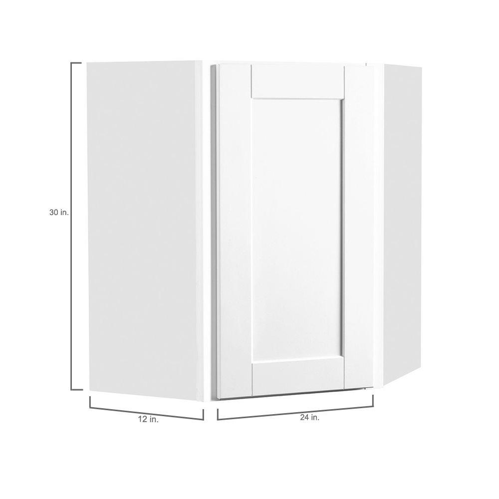 Hampton Bay Shaker Assembled 24x30x12 In Diagonal Corner Wall Kitchen Cabinet In Satin White Kwd2430 Ssw The Home Depot