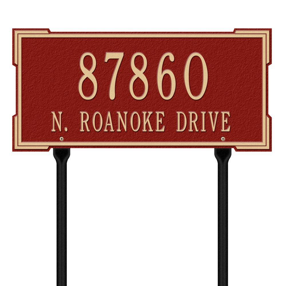 Rectangular Roanoke Standard Lawn 2-Line Address Plaque - Red/Gold