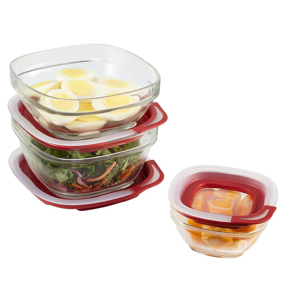 Rubbermaid 6 Piece Easy Find Glass Storage Container Set