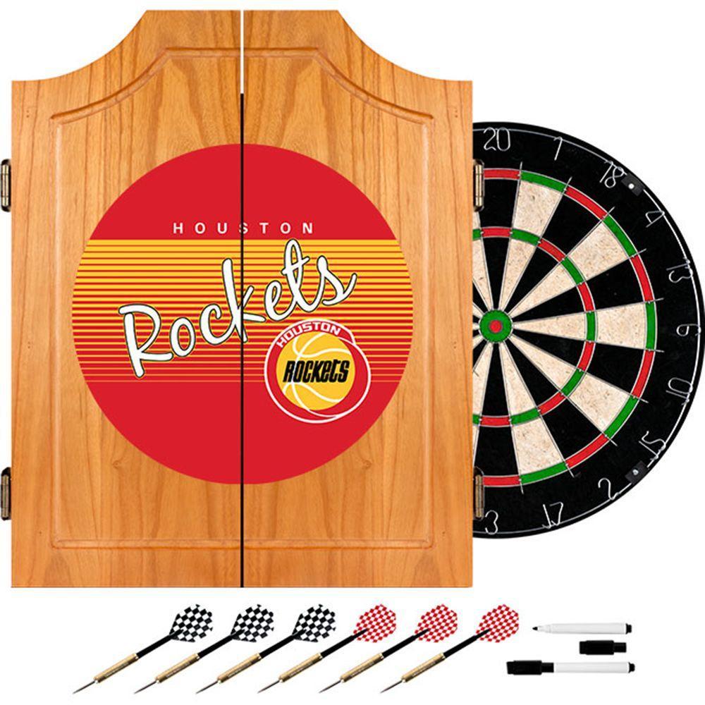 Trademark 20.5 in. Houston Rockets Hardwood Classics NBA Wood Dart Cabinet Set