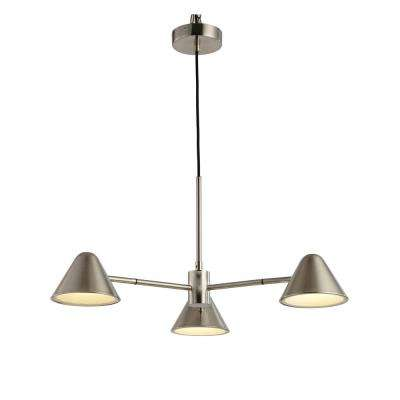 Cove 5-Watt 3-Light Integrated LED Satin Nickel Chandelier