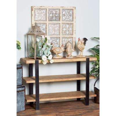Brown Rectangular 3-Tier Console Shelf