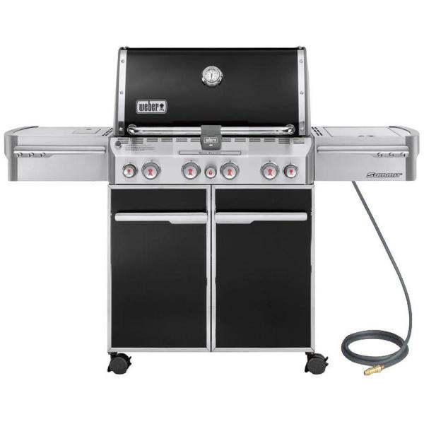 Summit E-470 4-Burner Natural Gas Grill in Black with Built-In Thermometer and Rotisserie
