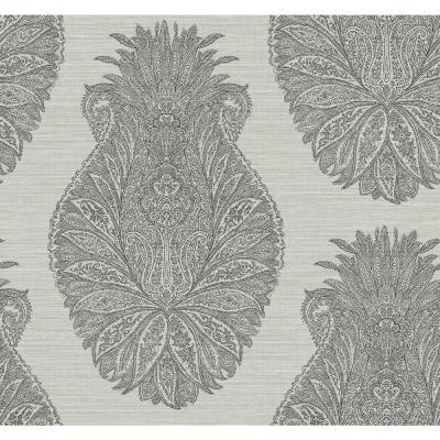 Peachtree Metallic Gold, Gray and Ebony Damask Wallpaper