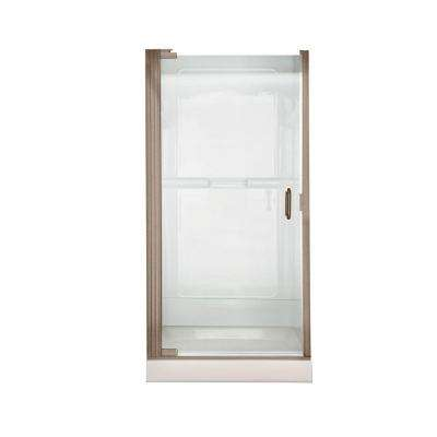 Euro 25.4 in. x 65.5 in. Semi-Frameless Continuous Pivot Shower Door in Brushed Nickel with Clear Glass